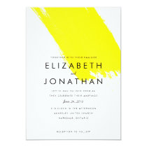 Bright Strike Modern Wedding Invitation // Yellow