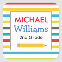 Bright Stripe School Labels