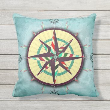 Beach Themed Bright Stripes Aqua Nautical Compass Pillow
