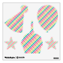 Bright Stripes Childrens Birthday Wall Decal