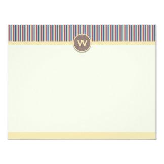 "Bright Stripes Note Cards 4.25"" X 5.5"" Invitation Card"