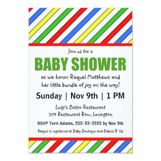 Bright Stripes Primary Colors Baby Shower 5x7 Paper Invitation Card