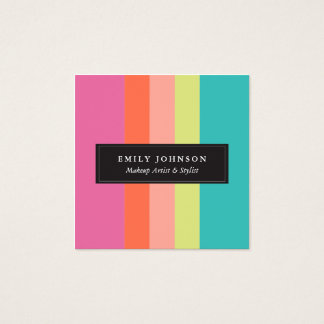 Bright Stripes Square Business Card