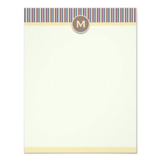 "Bright Stripes Vertical Note Card 4.25"" X 5.5"" Invitation Card"