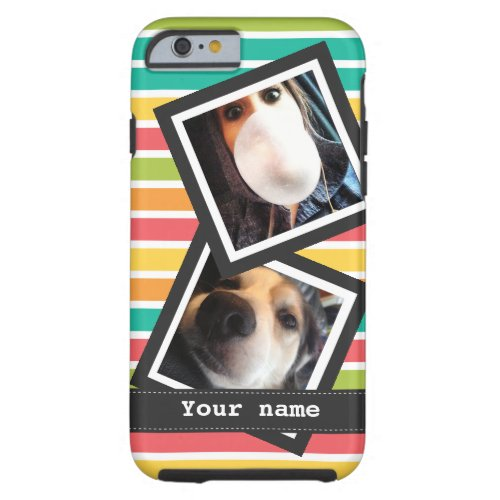 Bright Stripes with 2 Square Instagram Photos Phone Case