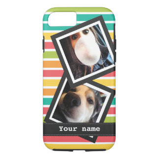 Bright Stripes with 2 Square Instagram Photos iPhone 7 Case