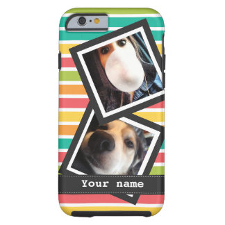 Bright Stripes with 2 Square Instagram Photos Tough iPhone 6 Case