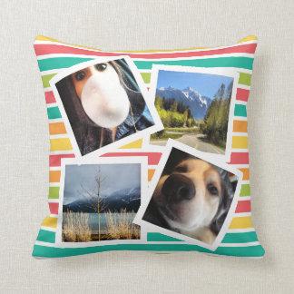 Bright Stripes with Random Instagram Photos Throw Pillow