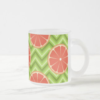 Bright Summer Citrus Grapefruits on Green Chevron Frosted Glass Coffee Mug