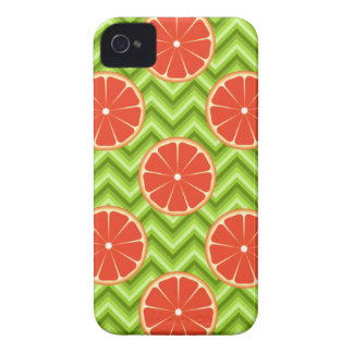 Bright Summer Citrus Grapefruits on Green Chevron iPhone 4 Case