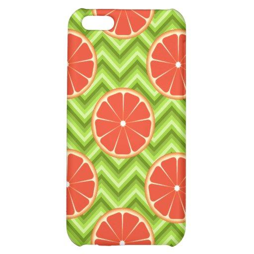 Bright Summer Citrus Grapefruits on Green Chevron iPhone 5C Covers