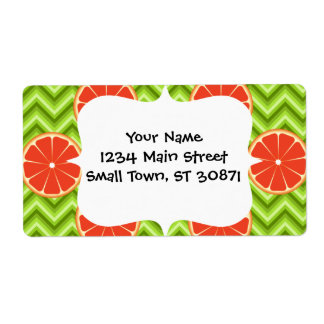 Bright Summer Citrus Grapefruits on Green Chevron Label