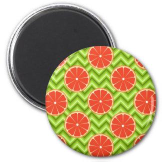 Bright Summer Citrus Grapefruits on Green Chevron Magnet
