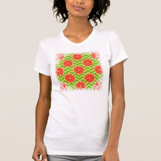 Bright Summer Citrus Grapefruits on Green Chevron T-Shirt