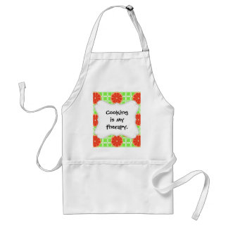 Bright Summer Citrus Grapefruits on Green Squares Adult Apron