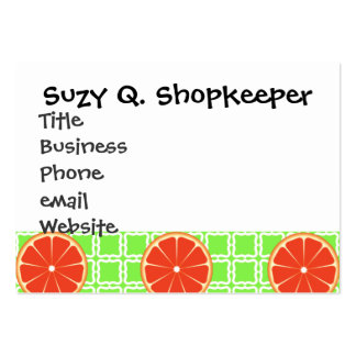 Bright Summer Citrus Grapefruits on Green Squares Large Business Card