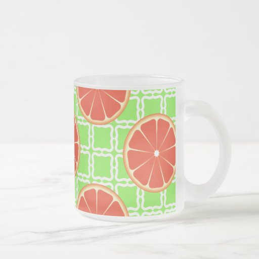 Bright Summer Citrus Grapefruits on Green Squares Coffee Mugs