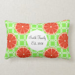 Bright Summer Citrus Grapefruits on Green Squares Throw Pillows