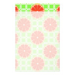 Bright Summer Citrus Grapefruits on Green Squares Customized Stationery