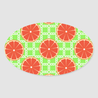 Bright Summer Citrus Grapefruits on Green Squares Oval Sticker