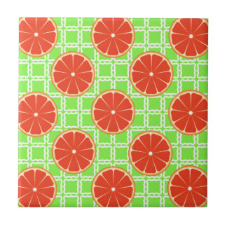 Bright Summer Citrus Grapefruits on Green Squares Tile