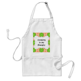 Bright Summer Citrus Limes on Coral Square Tiles Adult Apron