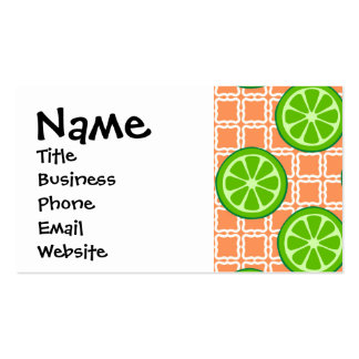 Bright Summer Citrus Limes on Coral Square Tiles Business Card