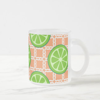 Bright Summer Citrus Limes on Coral Square Tiles Frosted Glass Coffee Mug