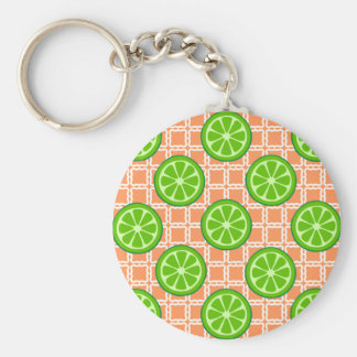 Bright Summer Citrus Limes on Coral Square Tiles Keychain