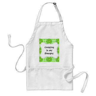 Bright Summer Citrus Limes on Green Square Tiles Adult Apron