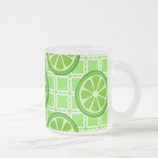 Bright Summer Citrus Limes on Green Square Tiles Frosted Glass Coffee Mug