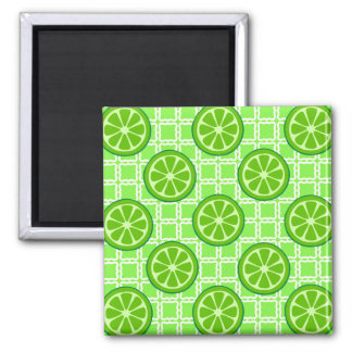 Bright Summer Citrus Limes on Green Square Tiles Magnet