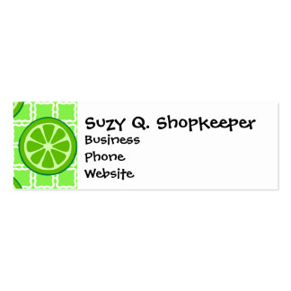 Bright Summer Citrus Limes on Green Square Tiles Mini Business Card