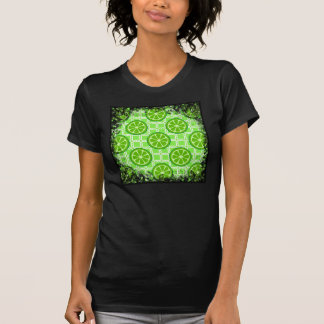 Bright Summer Citrus Limes on Green Square Tiles T-Shirt