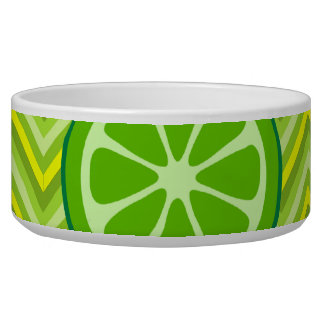 Bright Summer Citrus Limes on Green Yellow Chevron Bowl