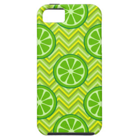 Bright Summer Citrus Limes on Green Yellow Chevron iPhone 5 Case