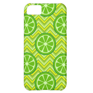 Bright Summer Citrus Limes on Green Yellow Chevron Cover For iPhone 5C