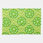 Bright Summer Citrus Limes on Green Yellow Chevron Kitchen Towels
