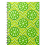 Bright Summer Citrus Limes on Green Yellow Chevron Spiral Notebook