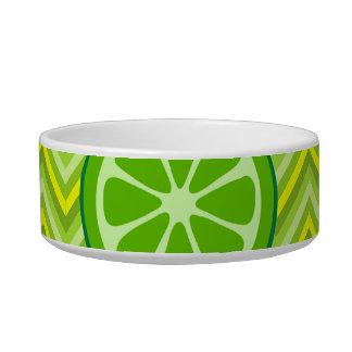 Bright Summer Citrus Limes on Green Yellow Chevron Pet Water Bowl