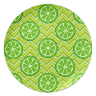 Bright Summer Citrus Limes on Green Yellow Chevron Dinner Plate