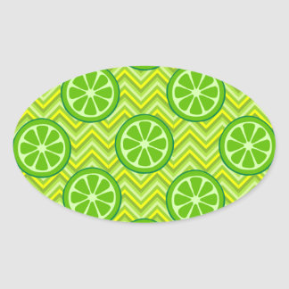 Bright Summer Citrus Limes on Green Yellow Chevron Sticker