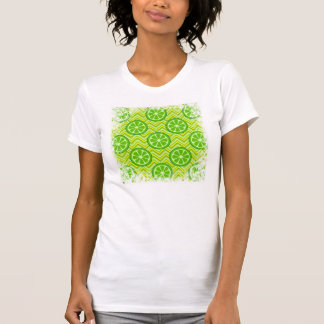 Bright Summer Citrus Limes on Green Yellow Chevron T-Shirt