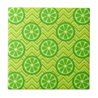 Bright Summer Citrus Limes on Green Yellow Chevron Tile
