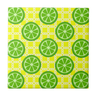 Bright Summer Citrus Limes on Yellow Square Tiles