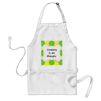 Bright Summer Citrus Limes on Yellow Square Tiles Adult Apron