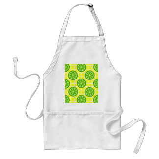 Bright Summer Citrus Limes on Yellow Square Tiles Aprons