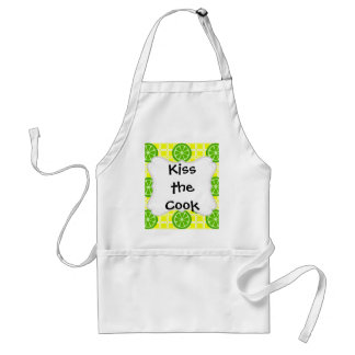 Bright Summer Citrus Limes on Yellow Square Tiles Apron