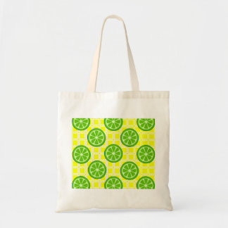 Bright Summer Citrus Limes on Yellow Square Tiles Bag