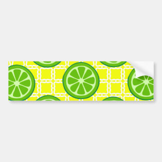 Bright Summer Citrus Limes on Yellow Square Tiles Car Bumper Sticker